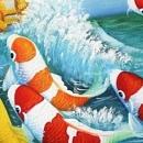 용문을 향해 뛰어오르는 잉어 그림 (80X60CM)