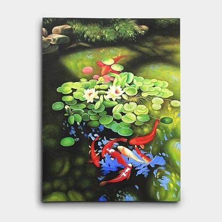 연꽃 아래의 아홉마리 잉어 그림 80X60CM 유화