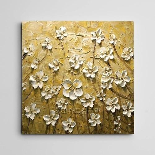 하얀꽃 유화그림 500x500 - 인테리어 액자, 캔버스 액자, 유화 그림 전문 쇼핑몰
