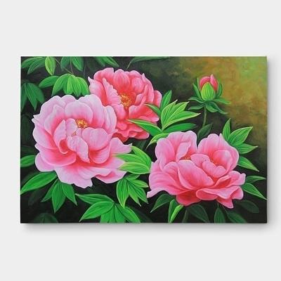 세송이 분홍색 모란꽃 그림 유화 50X70CM