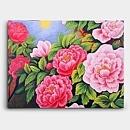 붉은색과 분홍색의 모란꽃을 형형색색 표현한 그림 70X50CM 유화