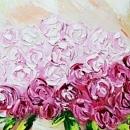 분홍 장미꽃 그림 45X45CM