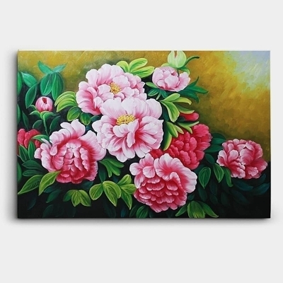 모란꽃 목단꽃을 수려하게 표현한 유화 그림 90X60CM