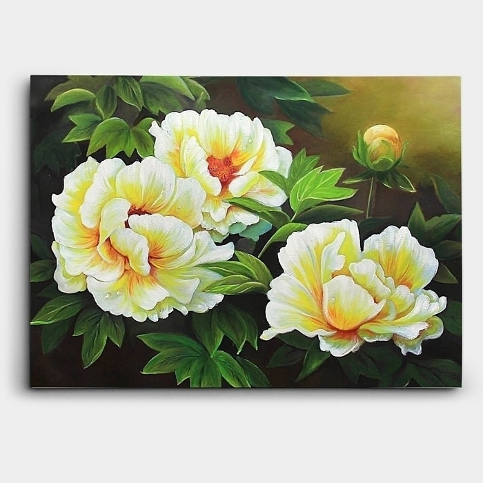 노란색의 모란 (목단) 꽃 세송이를 표현한 그림 유화 80X60CM
