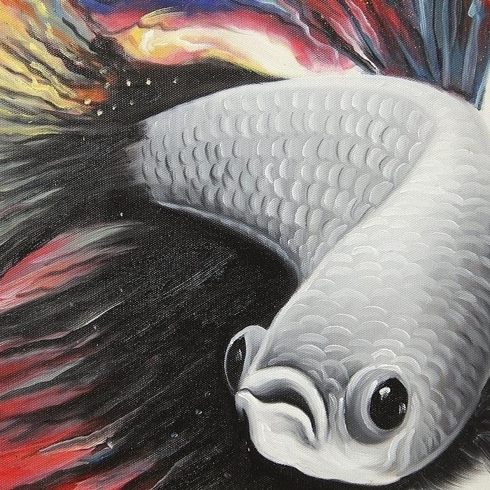 베타 물고기 유화 그림 (108X60CM)