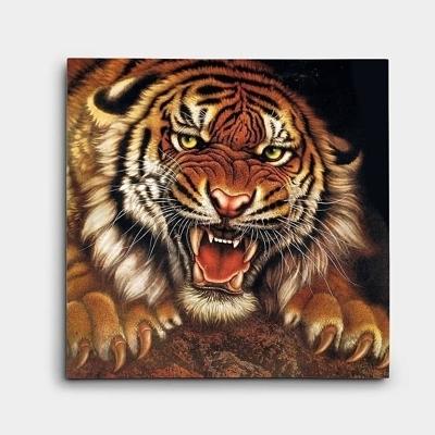 풍수 호랑이 그림 사나운 호랑이 한마리를 표현