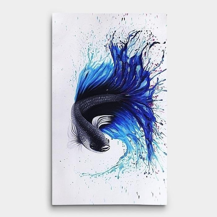 베타 물고기 유화 그림  2 (108X60CM)