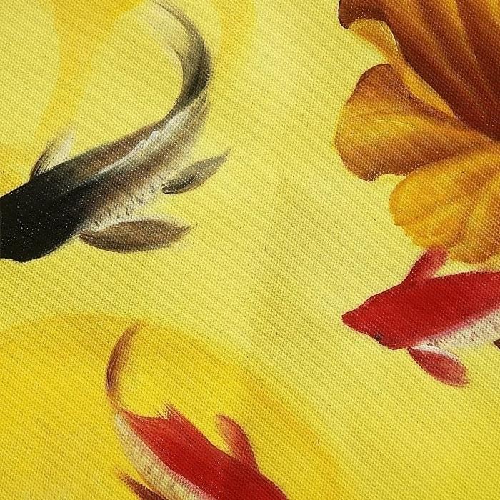 잉어와 연꽃 그림 (90X40CM)