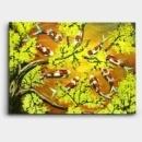 노란색의 매화꽃과 붉은색의 잉어를 그려낸 잉어 구어도 그림