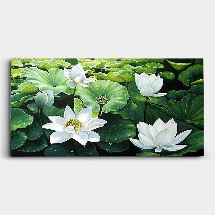 연못에 핀 연꽃 여러송이를 표현한 연꽃 그림