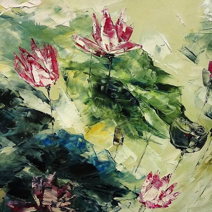 연꽃 그림 9 (70X70CM)