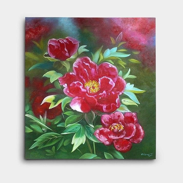 붉은색의 목단 모란을 큼지막하게 표현한 풍수 모란 그림
