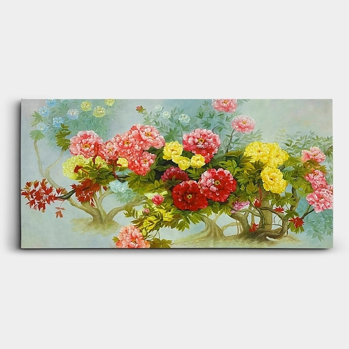 모란꽃이 환화게 핀 장면을 묘사한 그림. 유화