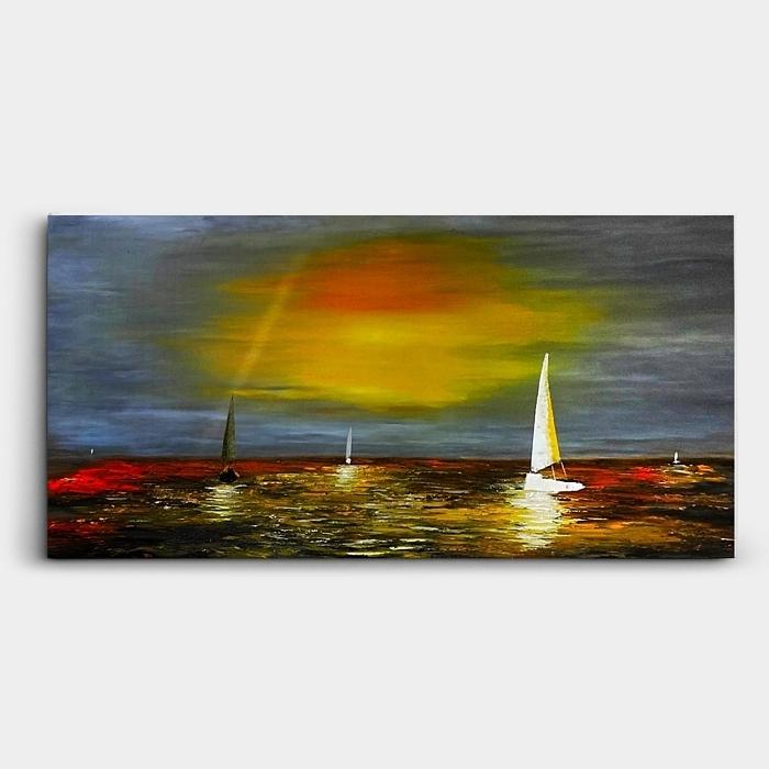 바다 풍경 배 그림 (100X50CM)