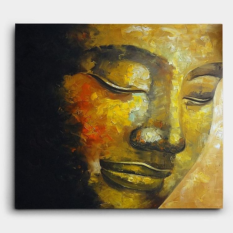 부처님의 얼굴을 묘사. 유화. 80X70CM