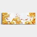 황금 잉어 그림 - 아홉마리 붉은색 잉어를 황금 연꽃과 함께 표현