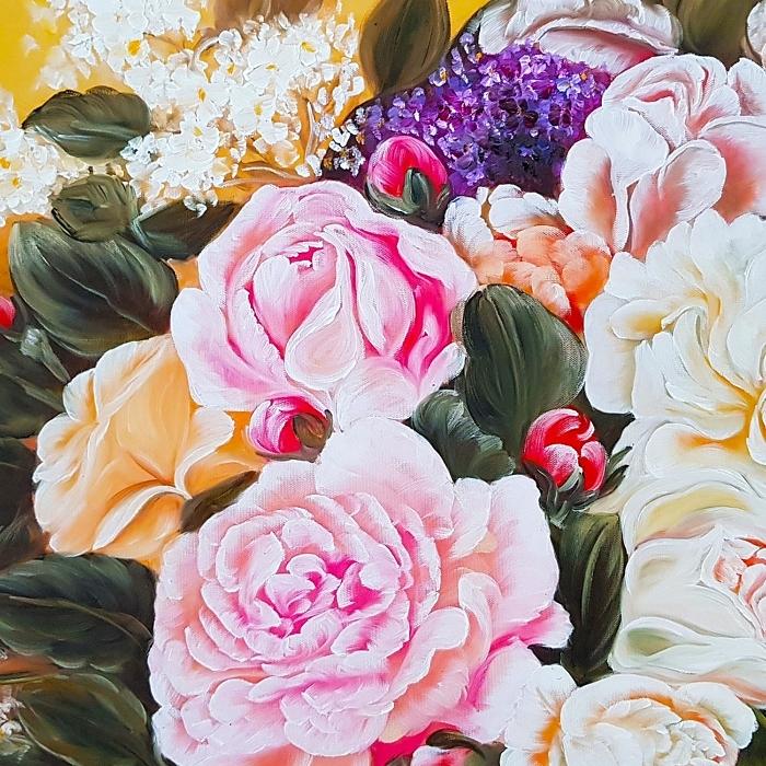 화분 모란꽃 그림 대형 (130X80CM)