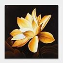황금색의 연꽃 한송이를 큼지막하게 그려낸 연꽃 그림