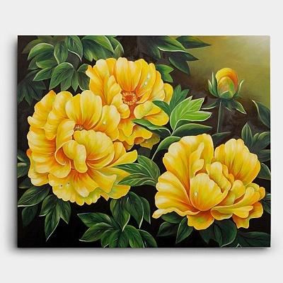노란색의 큼지막한 모란꽃을 세 송이 그려낸 풍수 모란꽃 그림