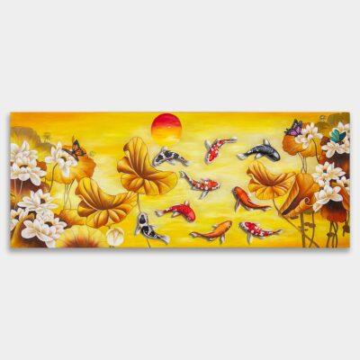 황금색의 배경에 하얀 연꽃과 잉어 아홉마리를 그린 잉어 그림