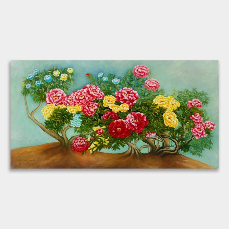 여러 송이가 화려하게 핀 모란꽃 그림의 사진