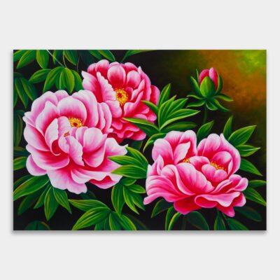큼지막한 분홍 모란꽃 세송이를 그린 그림